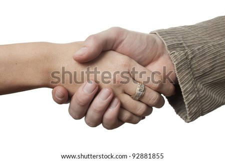 Businessman and woman shaking hands on a white background