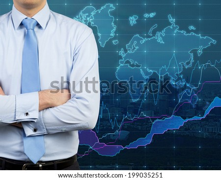 Businessman and worldwide map and forex chart