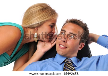 Businessman and young woman whispering secrets against a white background