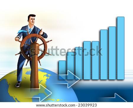 Businessman as a symbol of economical growth. Digital illustration.