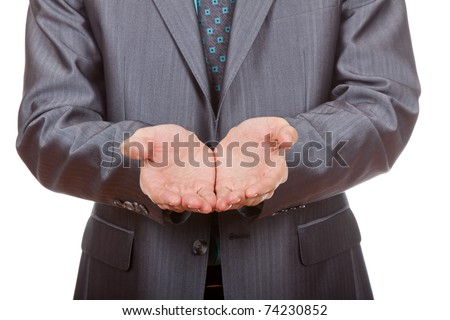Businessman asking for money, man in blue suit lending a helping hand, isolated on white background