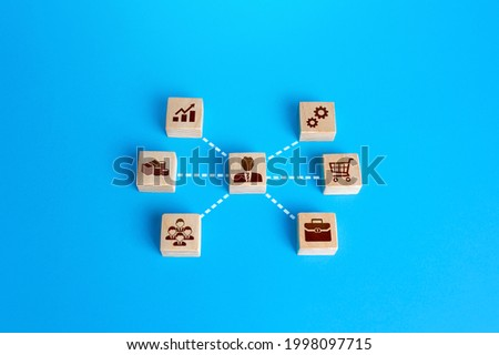 Businessman associated with business attributes. Creation of a successful company. Development of leadership organizational skills. Stimulating entrepreneurship. Business Aspects Management Photo stock ©