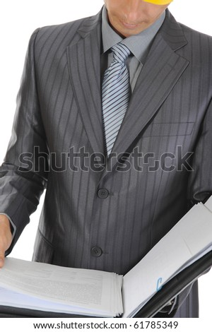 businessman at a construction. Isolated on white background