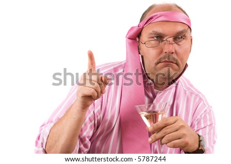 Businessman at a party looking obviously very drunk