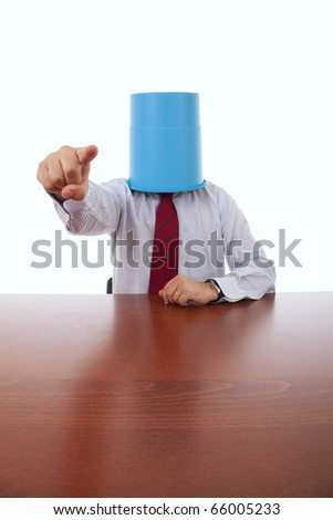 businessman at his office with a bucket on his head