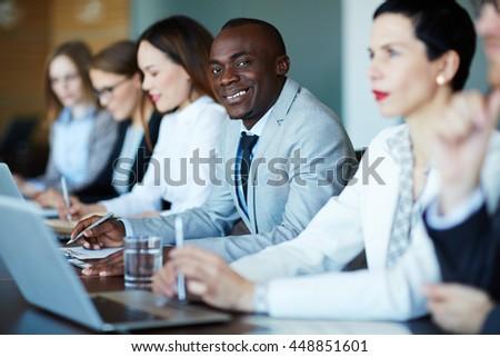 Businessman at meeting #448851601