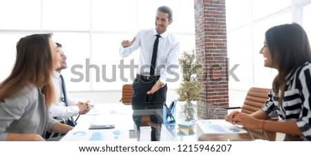 businessman at meeting with business team #1215946207