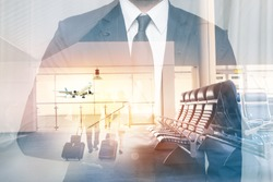 Businessman at the airport in double exposure. Man shows a hand sign okey at the airport terminal.