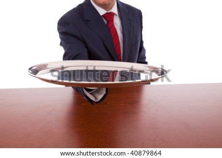 businessman at the office ready to serve all your needs (isolated on white) - stock photo