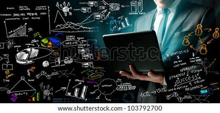 Businessman at work with ne ideas
