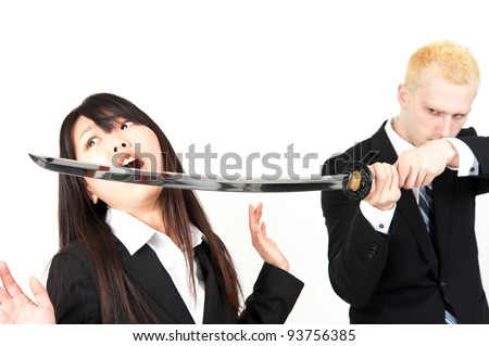 businessman attacking to businesswoman using samurai sword isolated on white background