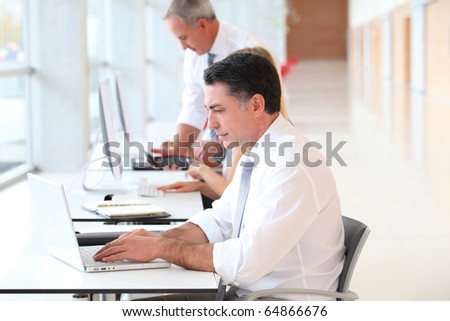 Businessman attending training course