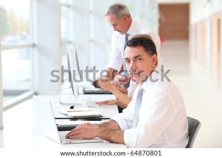 Businessman attending training course