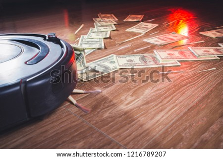Businessman attracting money with a horseshoe magnet concept for business success, strategy or greed #1216789207