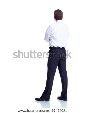 Businessman back. Isolated on white background.
