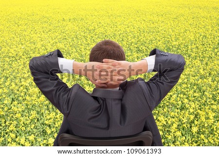 Businessman back sitting on chair in yellow field cast into with hands behind his head resting