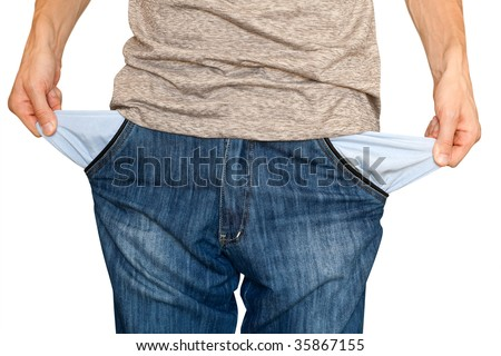 businessman bankrupt. hands with two empty pockets