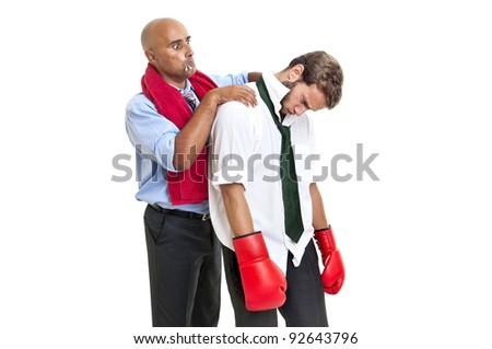 Businessman being prepared for battle