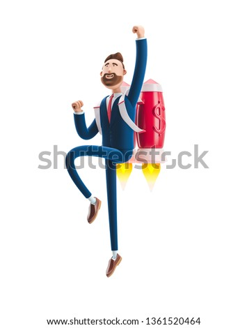 Businessman Billy flying on a rocket Jetpack up. 3d illustration. Concept of  business startup, launching of a new company.
