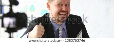 Businessman blogger online coach screaming intro camera concept #1383753746