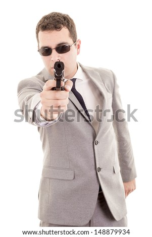 Businessman bodyguard isolated on a white background