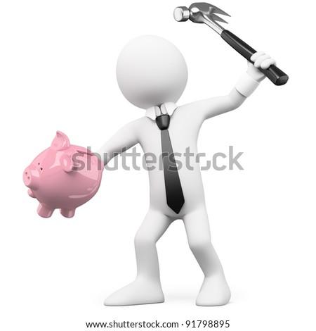 Businessman breaking a piggy bank with a hammer