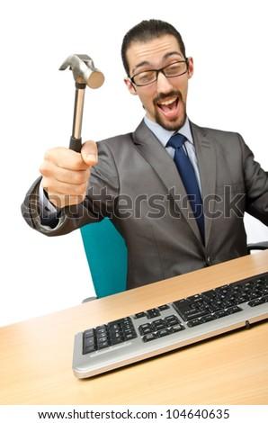 Businessman breaking his computer