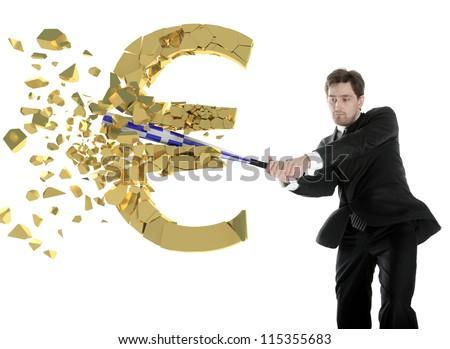 Businessman breaks the euro with a baseball bat. Shards flying toward.