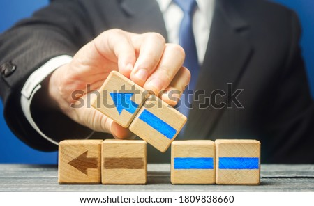 Businessman building an alternative path. Revision of old strategy and create improved ones. Flexibility business adaptation to new conditions. See problems as new opportunities for development