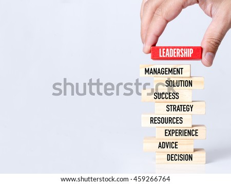 Businessman Building LEADERSHIP concept with Wooden Blocks #459266764