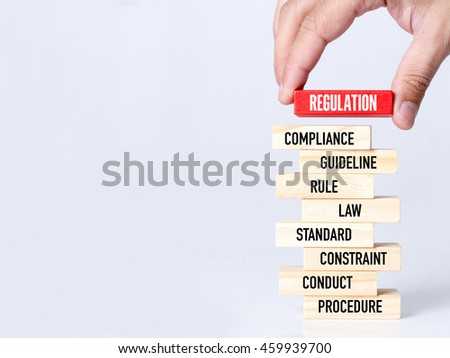 Businessman Building REGULATION Concept with Wooden Blocks