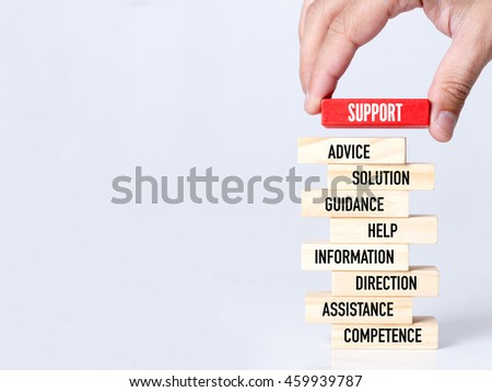 Businessman Building SUPPORT Concept with Wooden Blocks