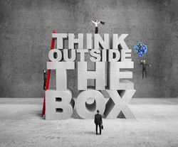 businessman building think outside the box