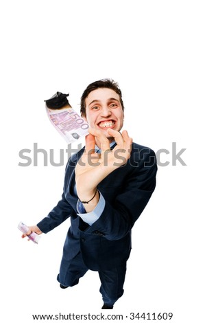 Businessman burning 500 euros isolated on white
