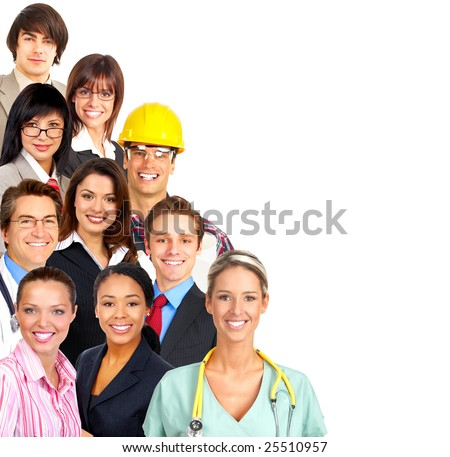 Businessman, business women, builder, nurse, architect, student. Over white background