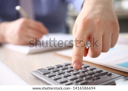 Businessman Calculate Finance Budget Press Button. Male Accountant Manager Making Annual Calculation, Notes at Workplace. Statistic Audit, Business Bookkeeping, Office Accounting Concept