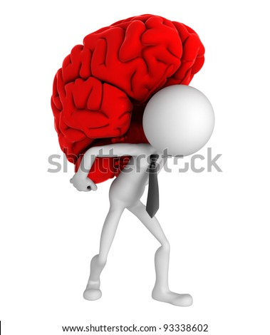 Businessman carrying brain on his shoulders. Conceptual business illustration. Isolated