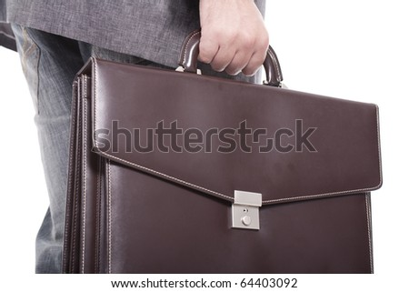 businessman carrying briefcase isolated on white background - stock photo