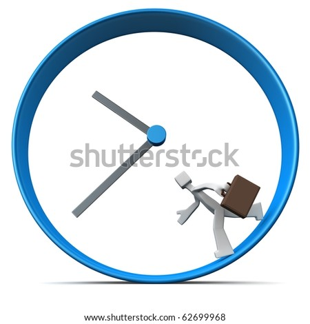 Businessman carrying briefcase rush for work run around a clock 3d illustration