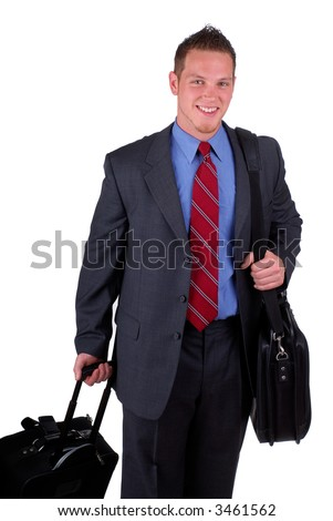 Businessman Carrying His Luggage During A Business Trip, Isolated Over White