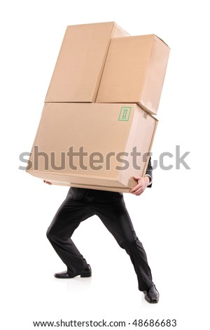 Businessman carrying paper boxes isolated on white background