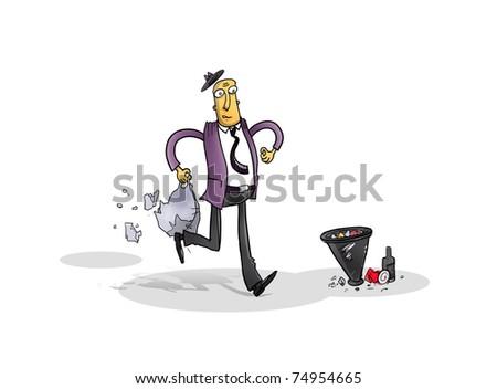 businessman cartoon funny walk