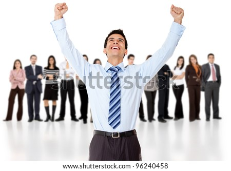 Businessman celebrating with arms up with his group - isolated over a white background