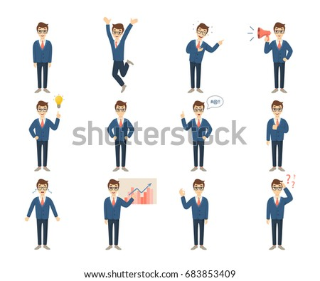 Businessman character set on white background. Handsome man.