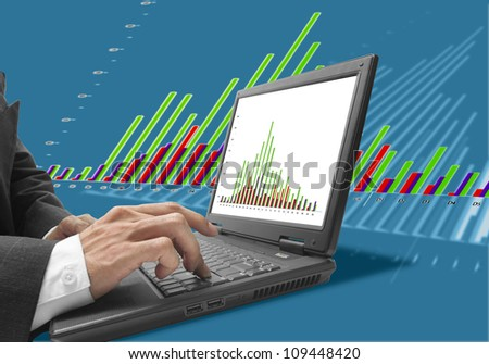 businessman check graph on notebook with blue background.