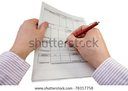 businessman checking tax statement. isolated on white. - stock photo