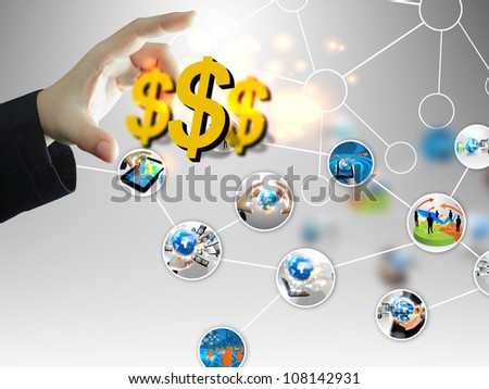 businessman chooses US dollar sign