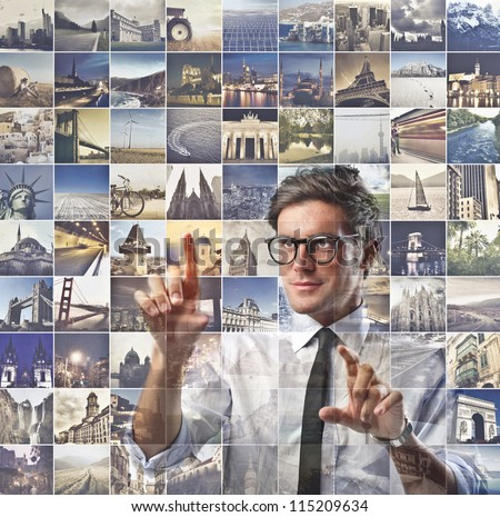 Businessman choosing a place from a list with the places images