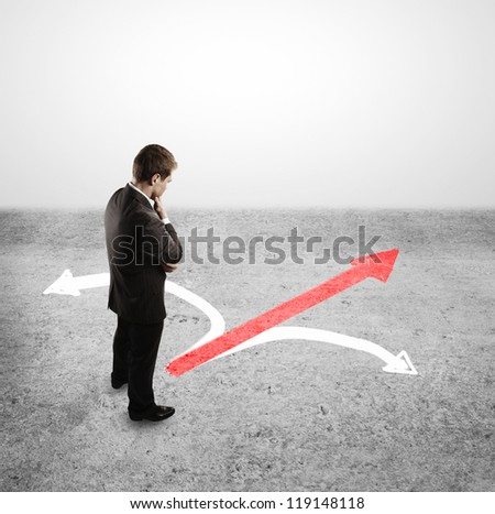 businessman choosing and tree arrows