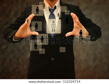 Businessman Choosing the right person in the old texture